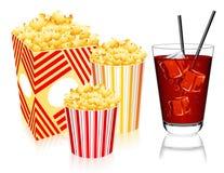 Popcorn and lemonade Stock Images