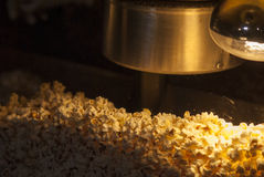 Popcorn machine warm baked glass Royalty Free Stock Photography