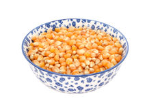 Popcorn maize in a blue and white china bowl Stock Images
