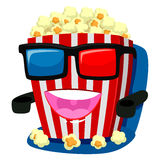 Popcorn Mascot wearing 3d Glass Stock Images