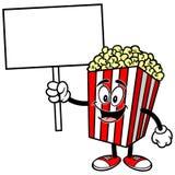 Popcorn med ett tecken royaltyfri illustrationer