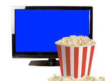Popcorn and modern LCD TV Royalty Free Stock Photo