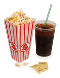 Popcorn and movie. Popcorn, soda, & tickets isolated on white Royalty Free Stock Photo