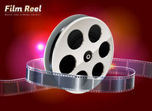 Popcorn movie cinema object. Film reel cinema movie theater object on bokeh background Stock Images