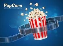 Popcorn movie cinema object. Popcorn cinema movie theater object on bokeh background Royalty Free Stock Photos