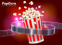 Popcorn movie cinema object. Popcorn cinema movie theater object on bokeh background Stock Images