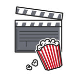 Popcorn and movie clapper USA America tourist travel attractions vector icon Royalty Free Stock Photos
