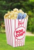 Popcorn. Movie Movie Ticket Ticket Isolated Box Coupon Royalty Free Stock Photos