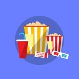 Popcorn Movie Set Flat Design Ticket Glasses Stock Image