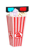 Popcorn movie tickets and 3D glasses. Isolated Popcorn movie tickets and 3D glasses Stock Images