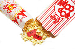 Popcorn and Movie Tickets. Box and bag of popcorn and two movie tickets Royalty Free Stock Photography