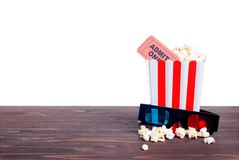 Popcorn movie tickets 3 d glasses side view of insulation Stock Image