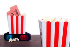 Popcorn movie tickets 3 d glasses side view of insulation. Popcorn movie tickets 3 d glasses side view  insulation Royalty Free Stock Photo