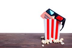 Popcorn movie tickets 3 d glasses side view of insulation Stock Images