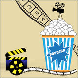 Popcorn and movies. Abstract colorful background with popcorn, numbered filmstrip, clapboard, movie projector and film reel vector illustration