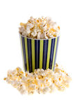 Popcorn in a mug. On white background Royalty Free Stock Photos