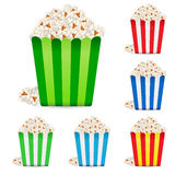 Popcorn in multi-colored striped packages Stock Image