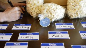 Popcorn and Name Tags royalty free stock photos