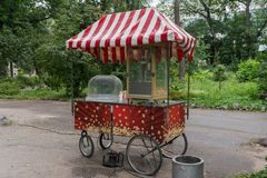 Popcorn. A nice colored kiosk selling popcorn in a park Royalty Free Stock Photo