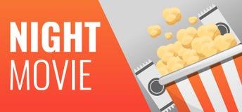 Popcorn night movie concept banner, cartoon style vector illustration
