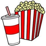 Popcorn och sodavatten royaltyfri illustrationer
