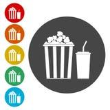 Popcorn och sodavatten med sugrörsymbolsuppsättningen vektor illustrationer