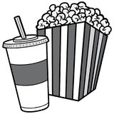 Popcorn- och sodavattenillustration royaltyfri illustrationer