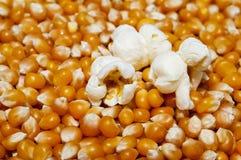 Popcorn op pitten wordt geknald die stock foto