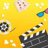 Popcorn. Open clapper board from top down perspective. Air view. Movie reel. 3D glasses. Two tickets. Cinema icon set in flat desi. Gn. Pop corn popping. Yellow Royalty Free Stock Photos