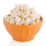 Popcorn in a orange bowl Royalty Free Stock Photography