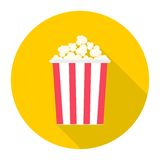 Popcorn package bag icon with long shadow. Vector icon Royalty Free Stock Photo