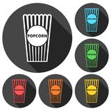 Popcorn package bag icons set with long shadow. Vector icon Royalty Free Stock Photo