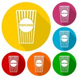 Popcorn package bag icons set with long shadow. Vector icon Royalty Free Stock Images
