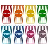 Popcorn package bag icons set. Vector icon Stock Image