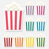 Popcorn package bag stickers set. Vector icon Royalty Free Stock Photos