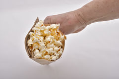 Popcorn. In a paper bag Stock Photo
