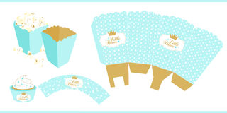 Popcorn paper box template. For little prince Stock Image