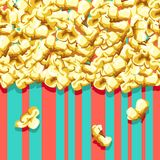 Popcorn pattern. Delicious and colorful seamless background. Vector illustration Stock Images