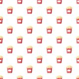 Popcorn pattern. Seamless repeat in cartoon style vector illustration Royalty Free Stock Image