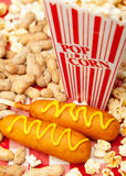 Popcorn Peanuts and Corn Dogs Royalty Free Stock Photography