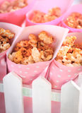 Popcorn in the pink bucket. Sweet crunchy popcorn in the pink bucket Royalty Free Stock Photo