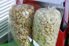 Popcorn. In the plastic bag Royalty Free Stock Photography