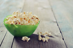 Popcorn in plastic bowl Royalty Free Stock Images
