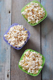 Popcorn in plastic bowls Stock Photography