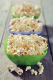 Popcorn in plastic bowls Stock Photos
