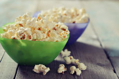 Popcorn in plastic bowls Royalty Free Stock Photo