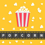 Popcorn popping. Big film strip line with text. Red white box. Cinema movie night icon in flat design style. Yellow background. Royalty Free Stock Photo