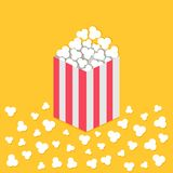 Popcorn popping on floor. Red yellow strip square paper box. Cinema movie night icon. Flat design style. Yellow background. Isolat. Ed. Vector illustration Royalty Free Stock Images