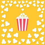Popcorn popping. Heart shape frame. Red yellow strip box. Cinema movie night icon. Tasty food. Flat design style. Yellow backgroun. D. Vector illustration Stock Images
