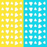 Popcorn popping pattern. Top air view. Heart shape frame. Cinema movie night sign symbol. Tasty food. Flat design style. Yellow an. D blue background. Vector Stock Photos